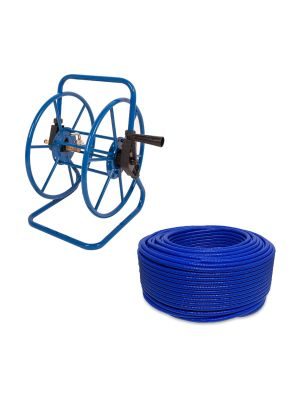 Steel Bolt Down Window Cleaning Portable Hose Reel with 100m of 8mm Hose