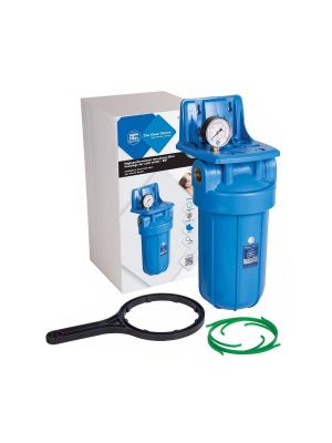 10 Inch Jumbo Big Blue Water Filter Housing with Pressure Gauge